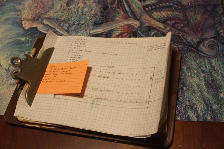The garden plan clipboard.