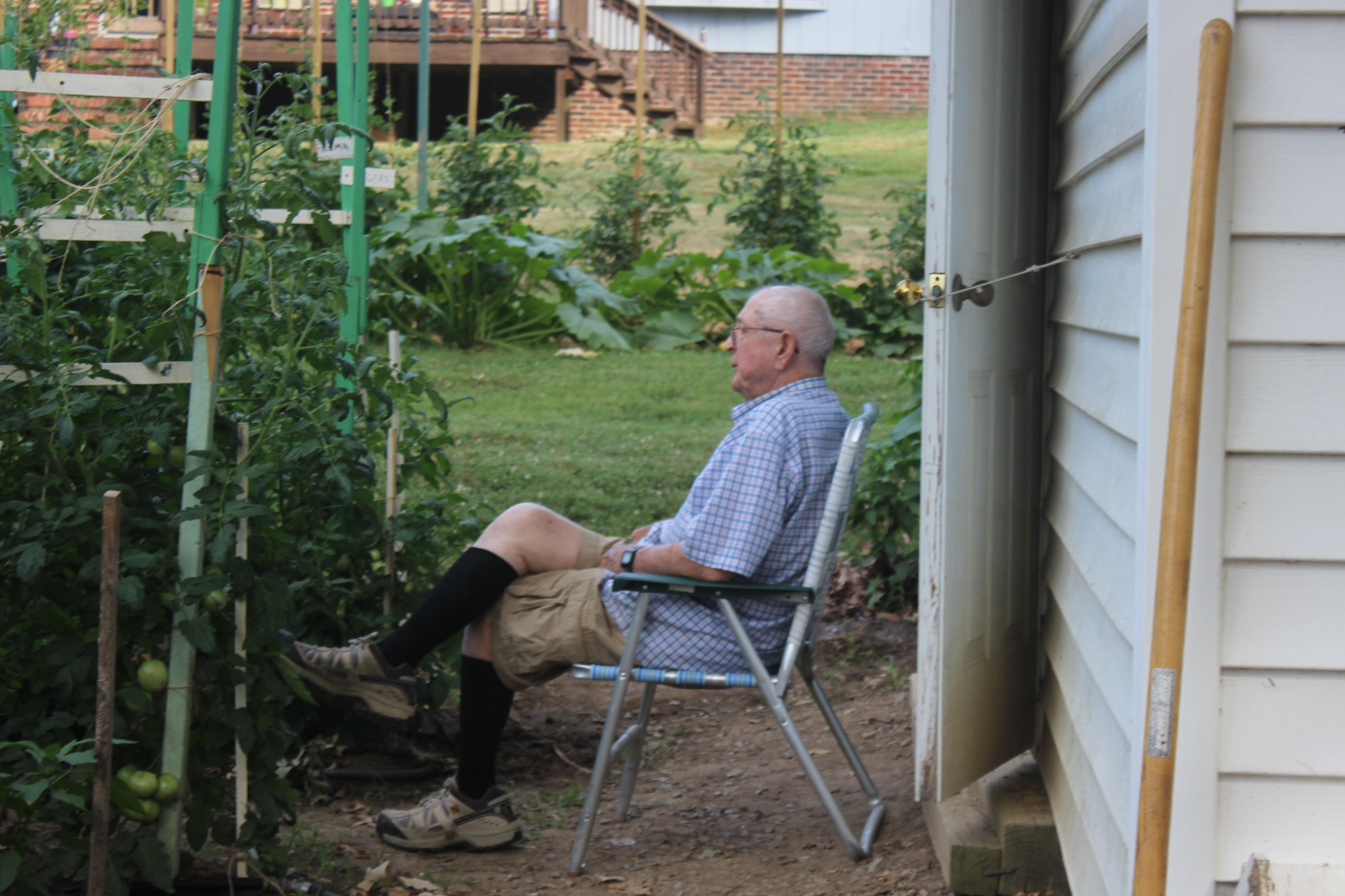 Daddy gardener plows a daddy