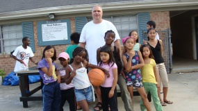 Mark with refugee children.